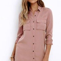 Obey Jetset Washed Blush Shirt Dress