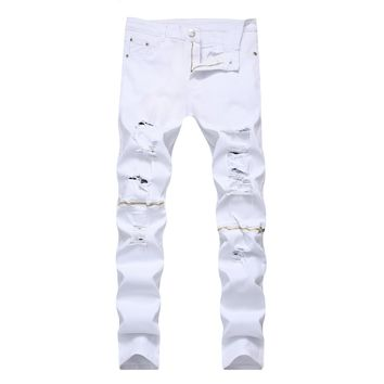 Zippers Hot Sale White Slim Ripped Holes Casual Stretch Pants Jeans [264170111005]