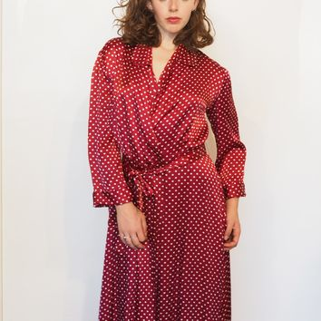 Housecoat Robe in Cherry Red with White Polkadots