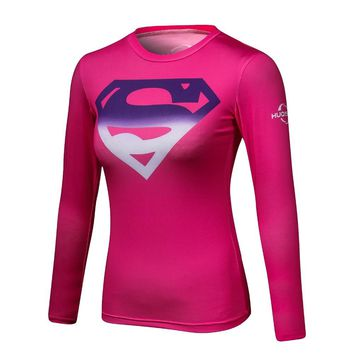 Superman VS Batman Compression Shirt 3D Printed T shirt Women Novelty Long Sleeve Crossfit Tops Female Cosplay Costume For Lady