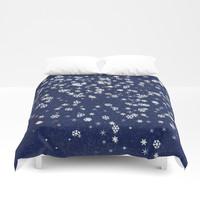 Snowflakes in space Duvet Cover by anipani