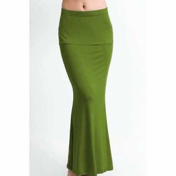 Stylish Solid Color Sexy Packet Buttock Fishtail Women's Skirt - Army Green L