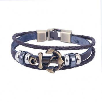 Hot sale! Men Vintage Metal Anchor Steel Studded Surfer Faux Leather Bangle Cuff Bracelet