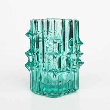 Rosice Glass Vase By Vladislav Urban / Green Vase / Union -Sklo /Czech