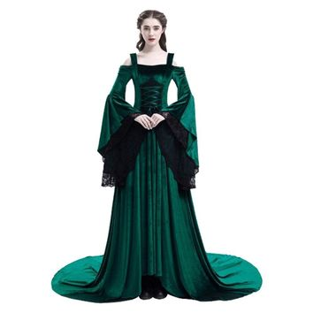 Cool High Quality Medieval Dress Women Medieval Retro Vintage Dress Costume Renaissance Gothic Costume Gown Halloween Cosplay CostumeAT_93_12