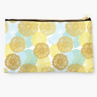 'Gold & Blue Floral Pattern' Studio Pouch by tanyadraws