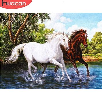 5D Diamond Painting White and Brown Horse Kit