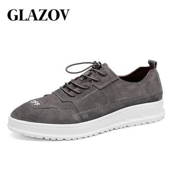 GLAZOV New Arrival Spring Summer Comfortable Casual Shoes Mens Pig Suede Shoes For Men Lace-Up Brand Fashion Flat Loafers Shoe
