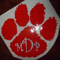 Clemson Paw Decal with initials