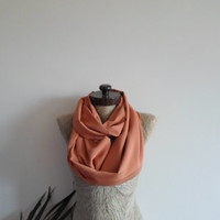 Infinity Scarf, tangerine loop scarf, Limited edition, silky fabric, solid color, Nursery cover, Party scarf, Timeless, scarves, LAST 4