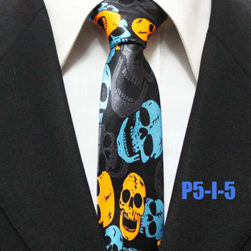 NEW 5CM Designer Ties Unique Pattern Party Necktie for Halloween with Colorful Skulls
