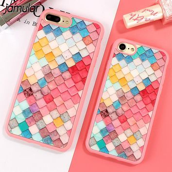 JAMULAR Colorful Grid Cover For iphone 8 7 Plus Soft Silicone Mirror Case For iphone 7 6 6s Plus Phone Cases Shell Skin Fundas