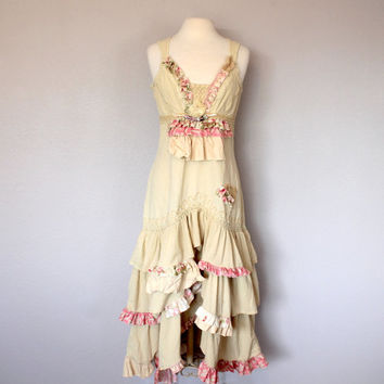 Rustic Country Shabby Wedding Garden Party Dress Women's Tattered Clothing