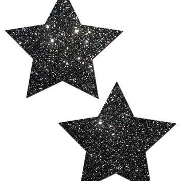 Star Nipple Pasties Black Glitter Pastease