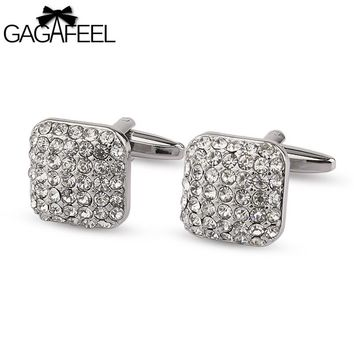GAGAFEEL Full Crystal Cuff Link For Office Engagement Party For Men Copper Square Cufflinks For French Shirt For Father's Day