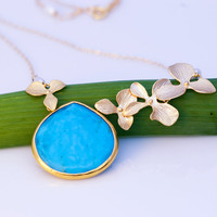 Large Turquoise Drop Bezel Necklace - 16k Gold Orchid Flowers and 14k Gold Filled Chain