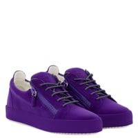 Giuseppe Zanotti Gz The Unfinished Violet Leather Low-top Sneaker With Flocking Patina - Best Deal Online
