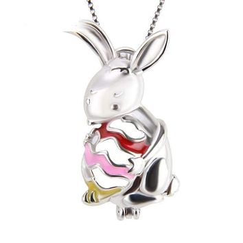 925 Sterling Silver Bunny Pearl Cage Pendant