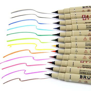 12 Colors Art Market Pens Fineline Drawing Painting Waterproof Anime Comic Calligraphy Gel Brush Sketch Pencil Chancery Supplies