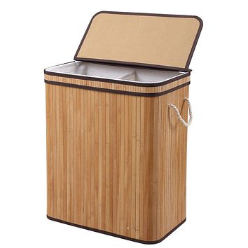 Bamboo Laundry Hamper Foldable Bin with Flap Lid & Reusable Liner - 100L