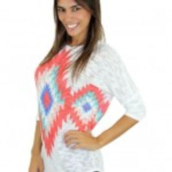 Coral And White Tribal Top