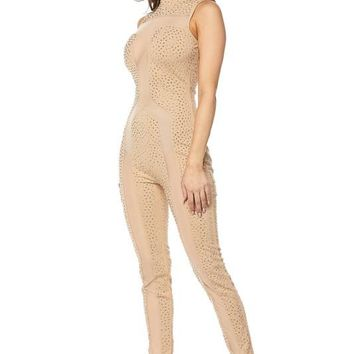 Sleeveless Rhinestone and Mesh Jumpsuit