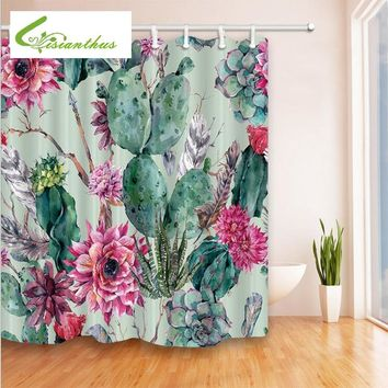 Cactus Flower Green Plant Shower Curtain Waterproof Mildewproof Bathroom Curtain Polyester Thickened Bathroom Products With Hook