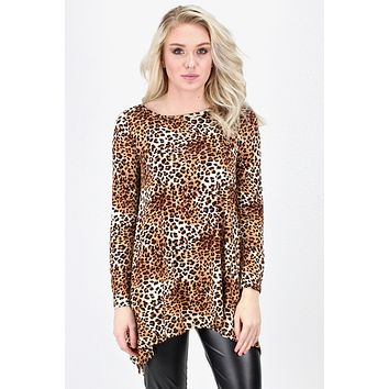 Leopard Love Small Print Trapeze Tunic {Camel Mix} EXTENDED SIZES