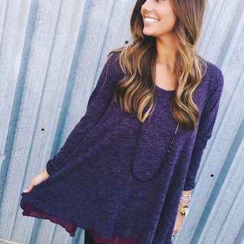 Falling Into Place Tunic- Purple
