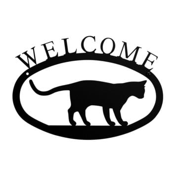 Wrought Iron Cat at Play Welcome Home Sign Small