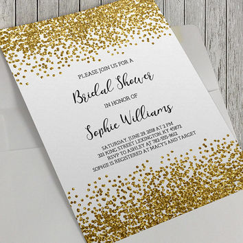 Shop black baby shower invitations on wanelo printable bridal shower invitation gold glitter confetti 5x7 i filmwisefo