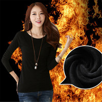 Plus Velvet Thermal Underwear Fashion Autumn Winter Women Basic Tee Shirt  Long-Sleeve Slim Thickening Warm T-Shirt kz447