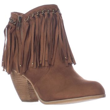 Not Rated Aadila Woven Fringe Booties, Tan, 8.5 US / 40 EU