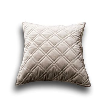"DaDa Bedding Set of Two Taupe Grey Velvet Quilted Throw Pillow Covers, 18"" x 18"",  2-PCS (JHW831)"