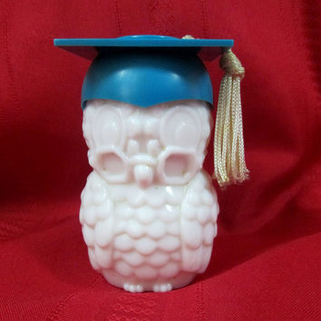 Vintage Graduation Owl Avon Perfume Bottle Blue Cap