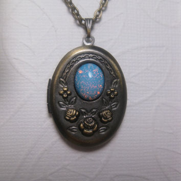 Blue Opal Garden Locket In Antique Brass