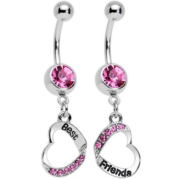 Rosy Pink Gem Best and Friends Matching Heart Dangle Belly Ring Set