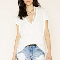 Strappy V-Neck Oversized Tee | Forever 21 - 2000222238