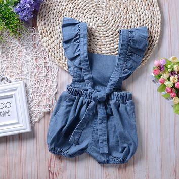 Newborn Infant Baby Girl Denim Ruffles Romper Jumpsuit Sunsuit Outfits Clothes Autumn Winter Warm Bebes Rompers