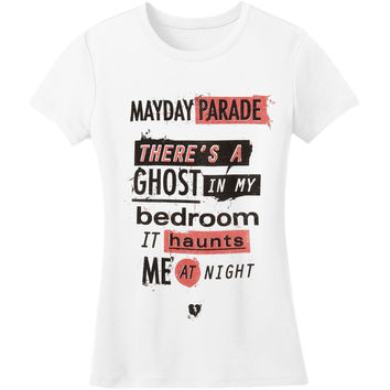 Mayday Parade  Ghosts Lyric Girls Jr White Rockabilia