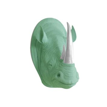 The Serengeti | Large Rhino Head | Faux Taxidermy | Mint Green + Silver Horns Resin