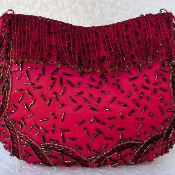 Vintage La Regale Christmas Red Satin Clutch Beaded Fringe Front Purse Formal Holiday Handbag Green Gold Beads Long Chain Hide Away Strap