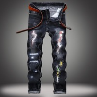 Ripped Holes Strong Character Jeans [1567946735709]