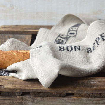 Two NATURAL BON APPETIT Black French country 2 Linen Towel / shabby chic kitchen/ eco friendly gift Natural / sustainable