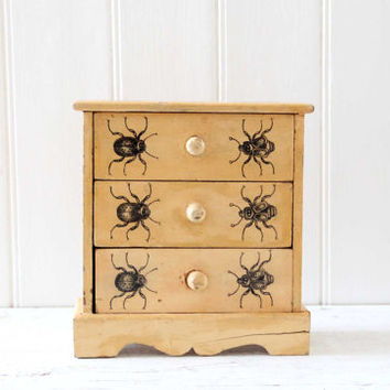 Small Wooden Chest of Drawers with Hand Painted Insects / Rustic Wooden Chest, Jewelry Storage, Desk Organization