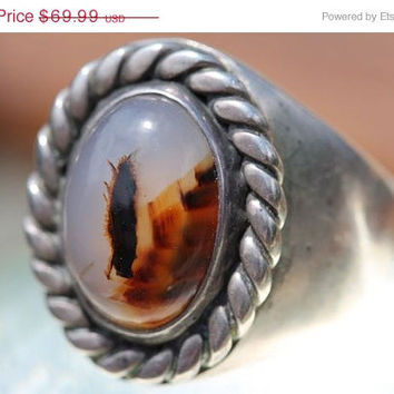 35% Off SALE Vintage 1980's Southwestern Sterling Silver Dendritic Agate Signet Men's Ring - Old Store Stock