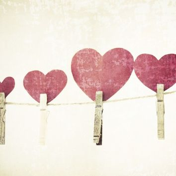 Red hearts photography love - clothes line valentine shabby chic paper love sweethearts wedding marriage friendship - 8x10
