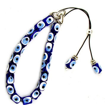 Blue Evil Eye Komboloi Greek Worry Beads with Resin Barrel Beads & Rare Design Solid Metal Master Bead