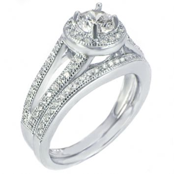 Claudette's .925 Sterling Silver Round Cut Halo Style Pave Wedding Ring Set