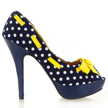 LF30421 New Womens Peeptoe Polka Dots Bow Stiletto Platform High Heels Pumps Court Shoes NAVY BLUE WHITE YELLOW NAUTICAL ROCKABILLY